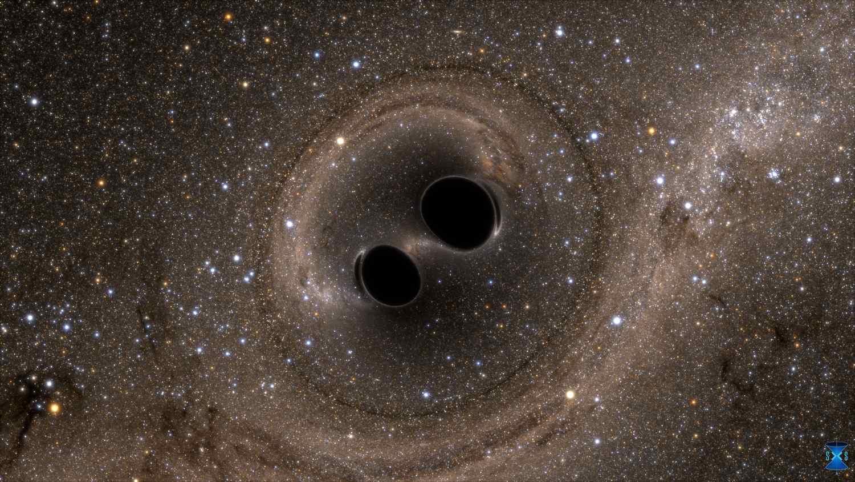 Schwarze Löcher kollidieren, um Gravitationswellen zu erzeugen