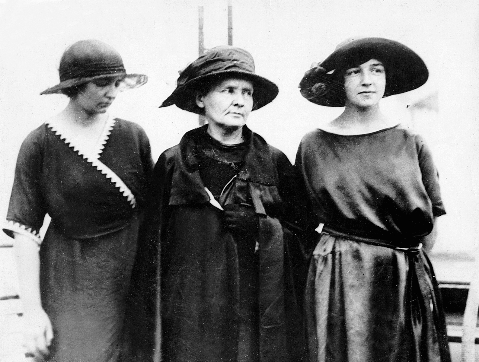 Marie Curie in America with Daughters Eve and Irene, 1921
