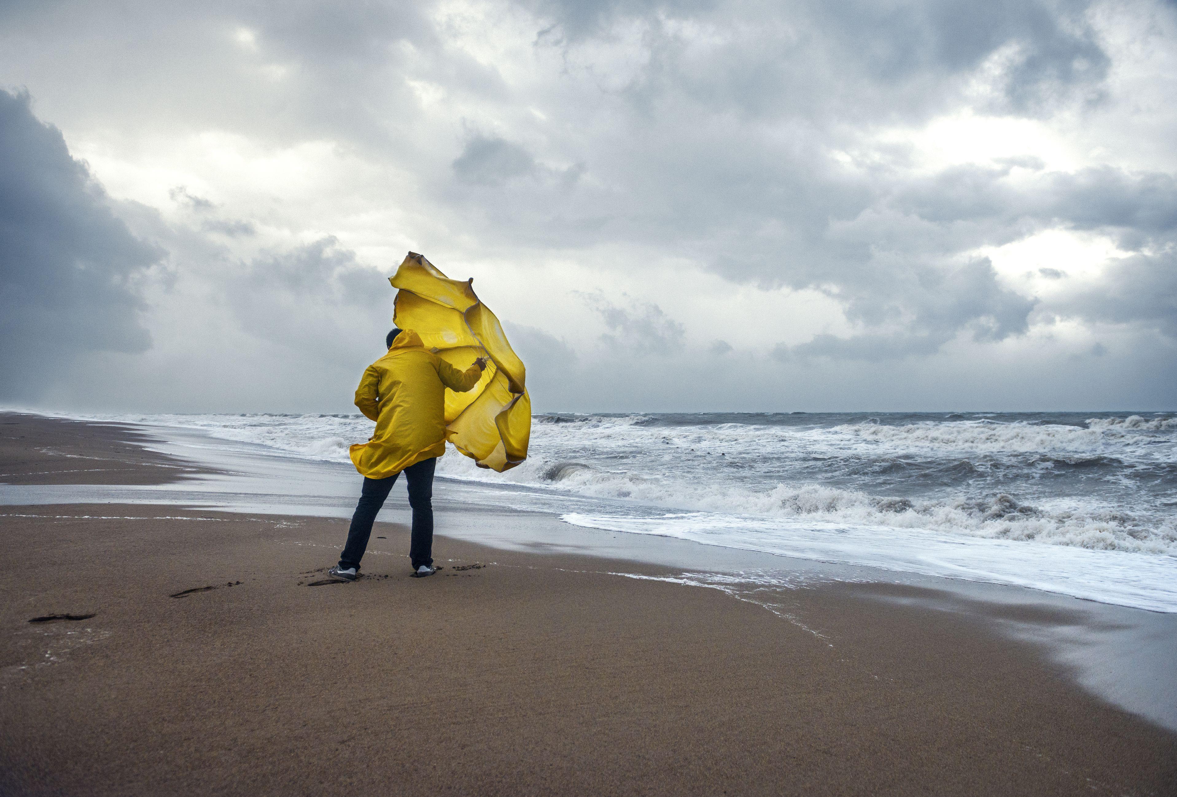 Man on windy beach