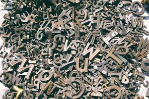 A pile of metal letters.