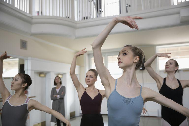 Focused female ballet dancers practicing in a studio