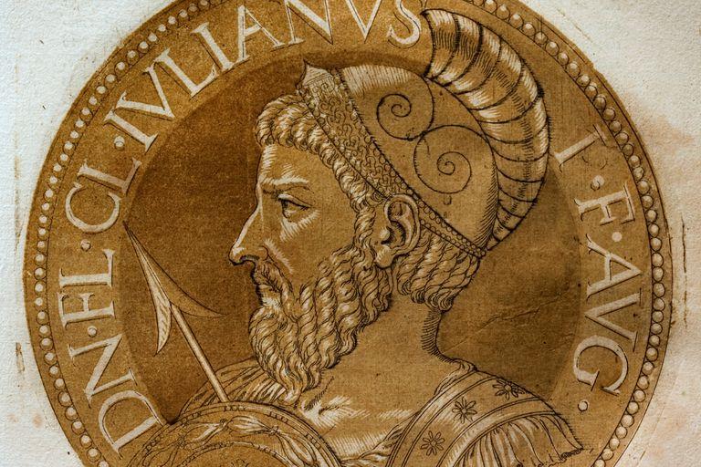 Chiaroscuro medallion portrait woodcut of Roman Emperor Julian