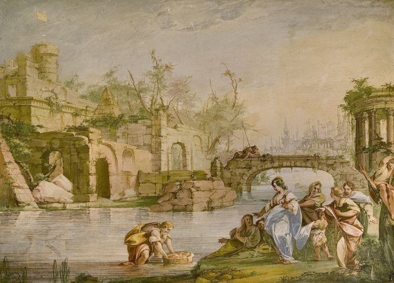 Moses saved from the waters, fresco by Giovanni Battista Ronchelli (1715-1788), villa Recalcati, Varese, Lombardy, Italy, 18th century