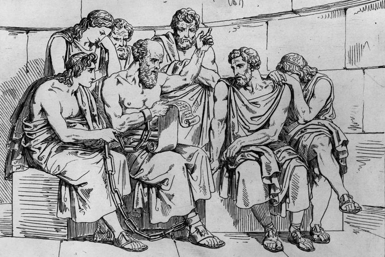 Illustration of Socrates reading a scroll with a group.
