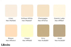 Various beige color names and hex values