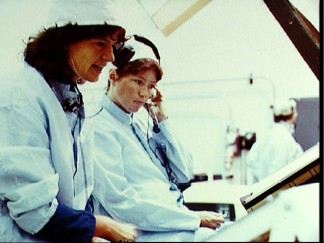 Astronaut Sally K. Ride participates in a mission sequence test for STS-7, 1983