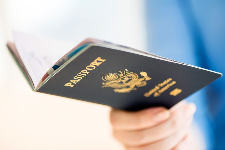 Person holding a United States passport.