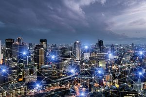 Network business connection system on Osaka smart city scape in background. Network business connection concept