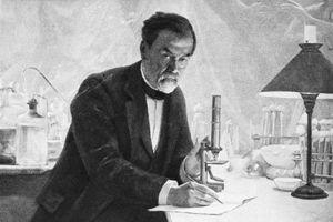 Portrait of Louis Pasteur in his laboratory