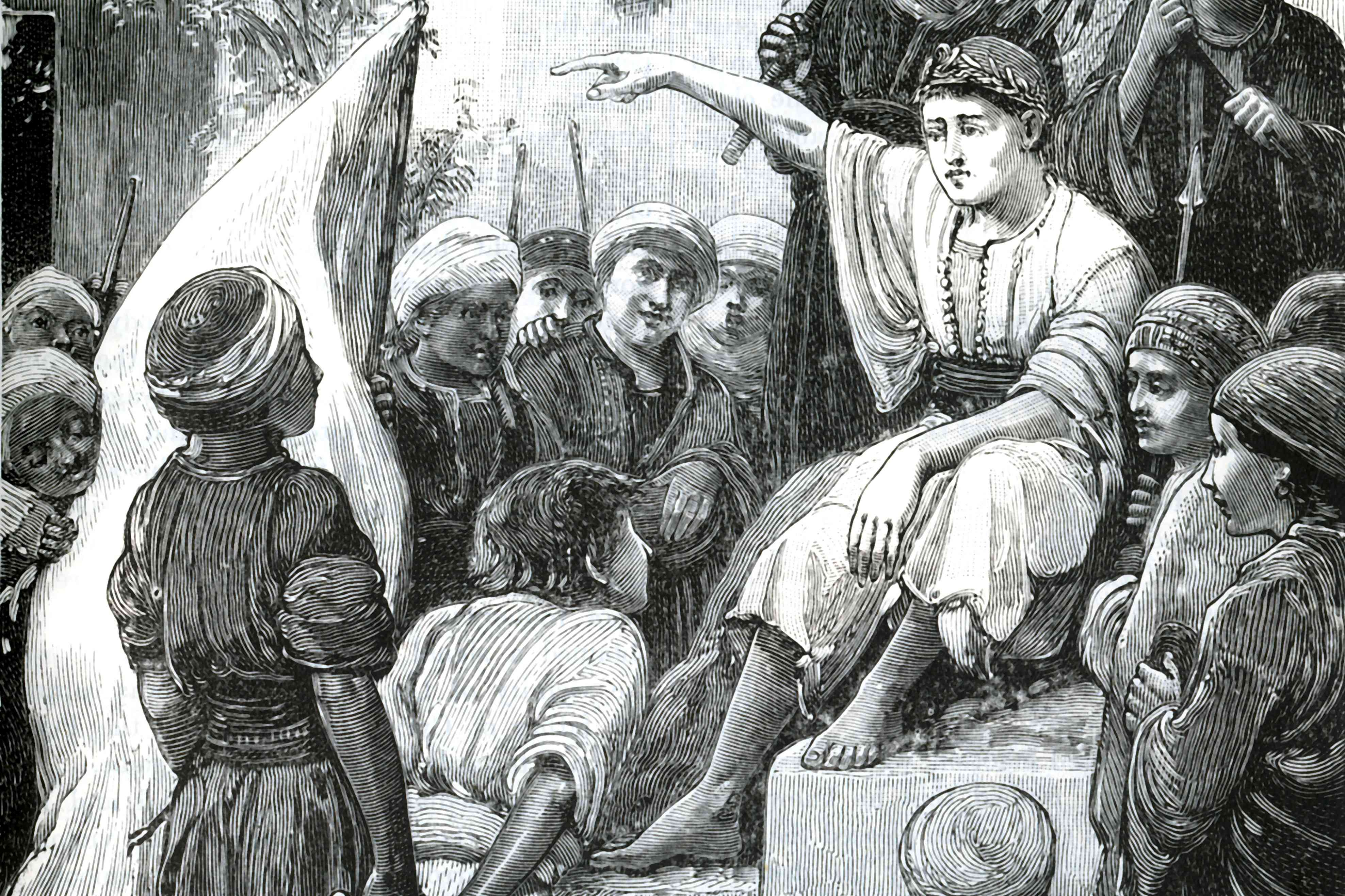 Young King Cyrus wearing a laurel crown and dispensing orders while pointing