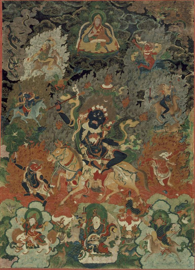 Palden Lhamo depicted in a traditional tibetan painting