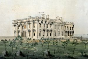 Painting of large white rectangular mansion with burned out windows but largely with an in tact exterior