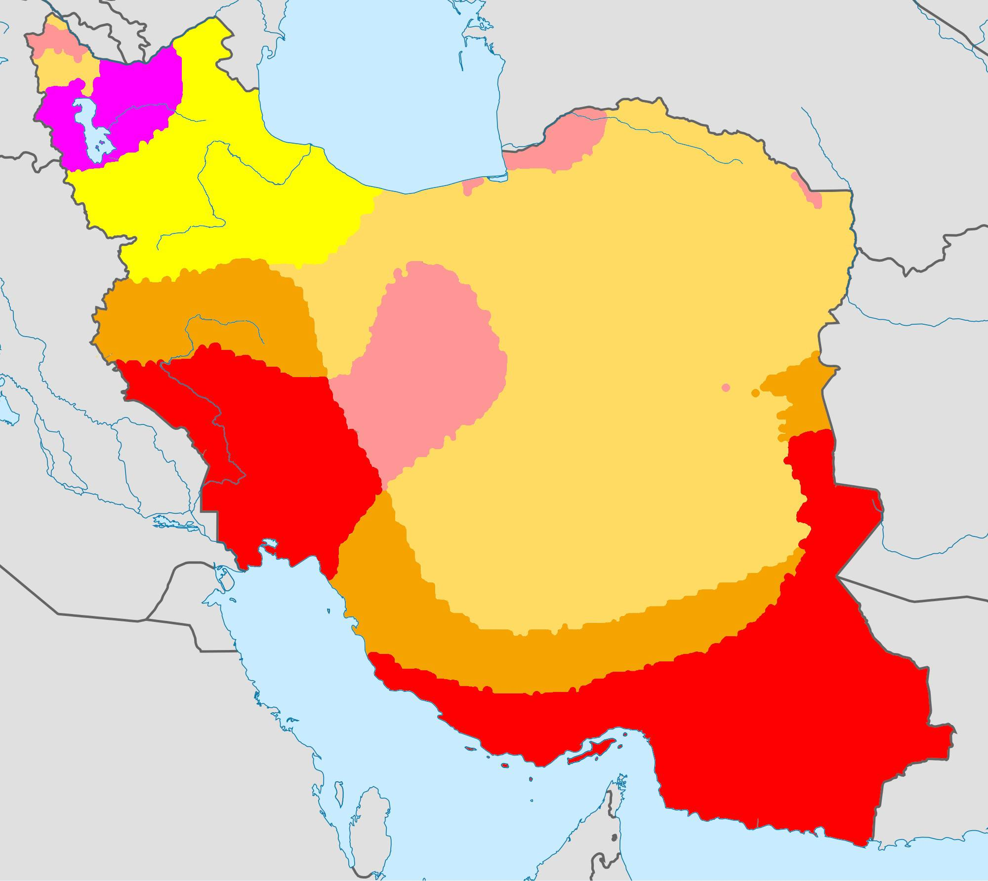 Map of Iran with Koppen climate classification.