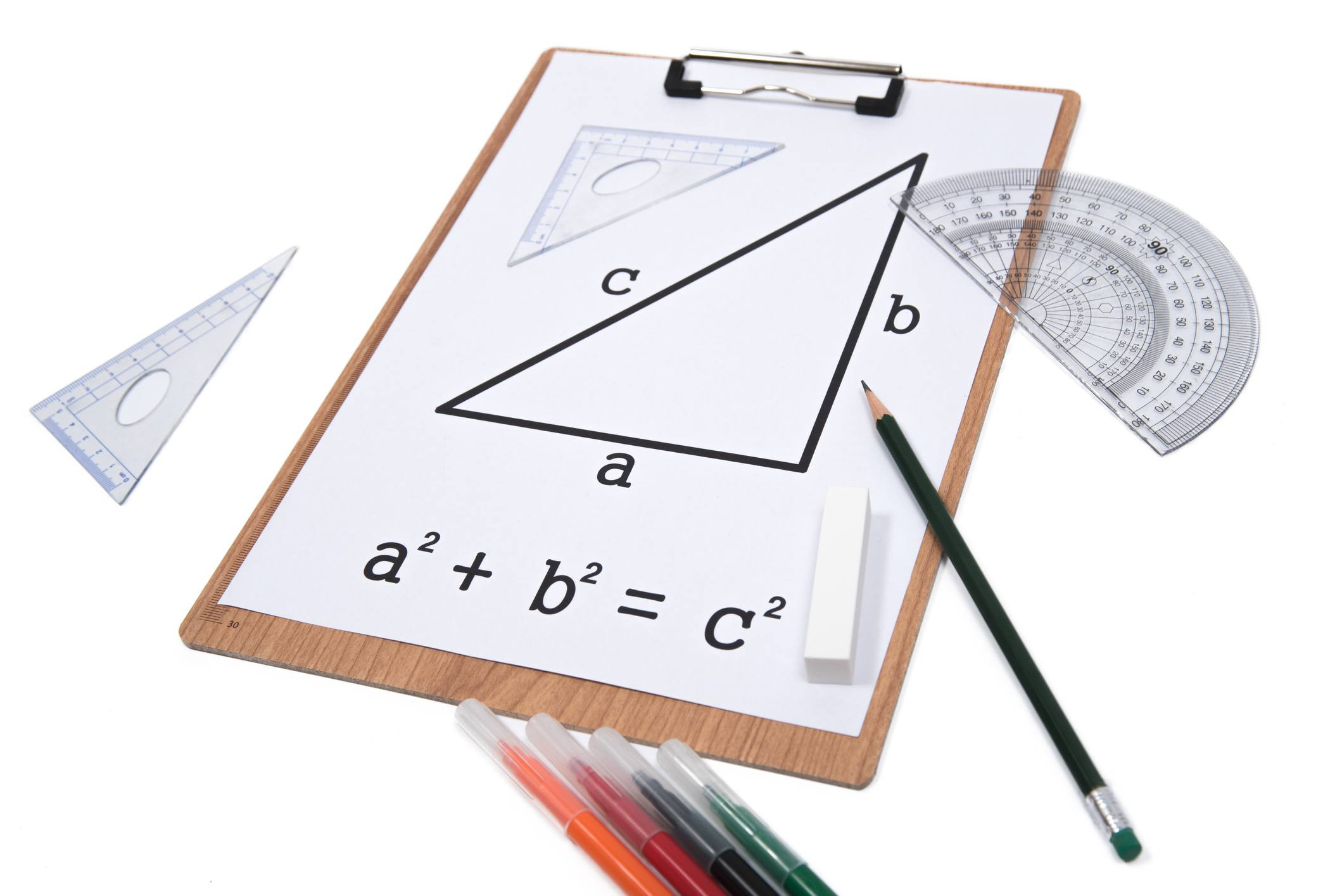 school supplies and clipboard with diagram