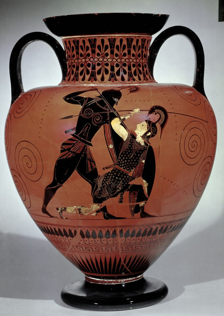 Achilles murders Penthesilea on the battlefield