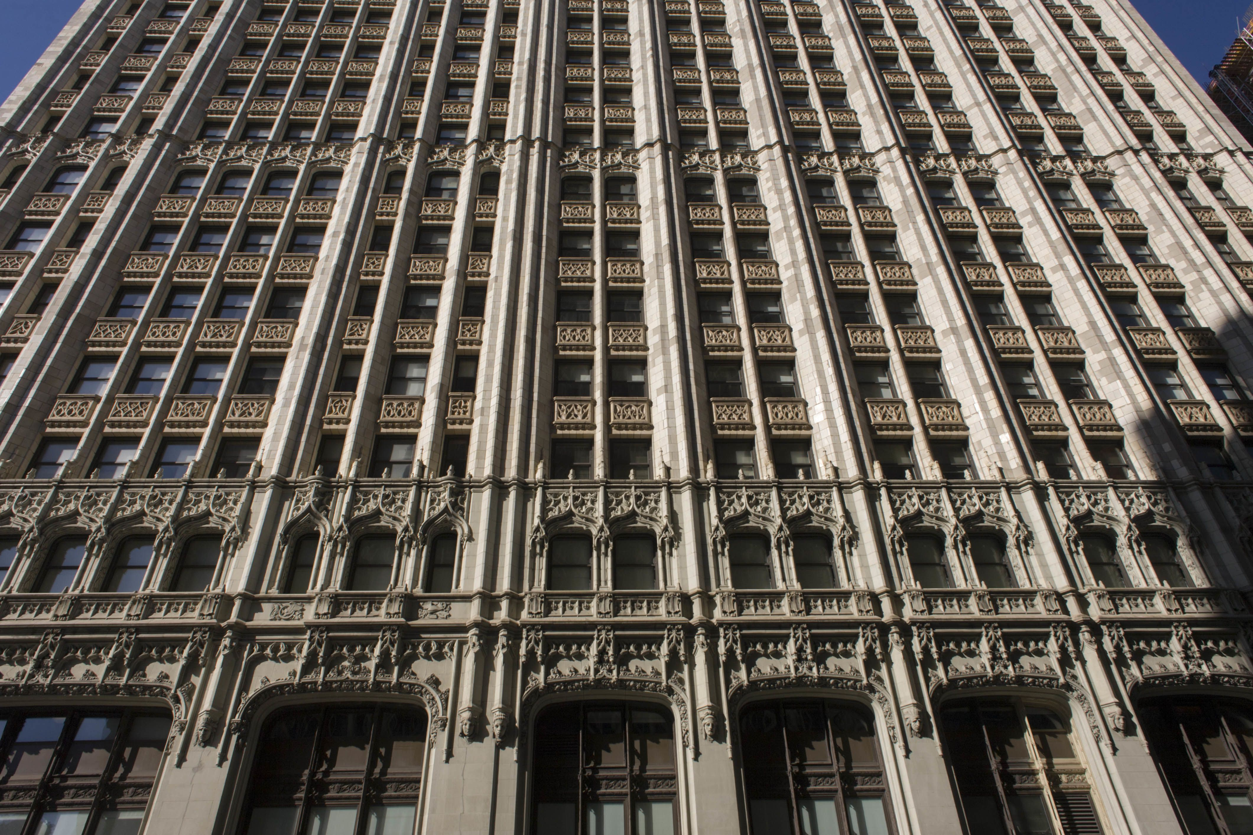 Low angle view of Gothic Revival Woolworth building in Lower Manhattan