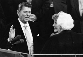 Ronald Reagan taking the oath of office during his presidential inauguration.