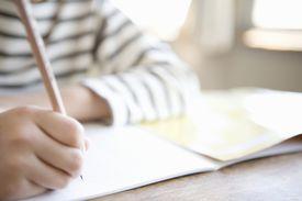 Boy (8-9) writing in class, close-up