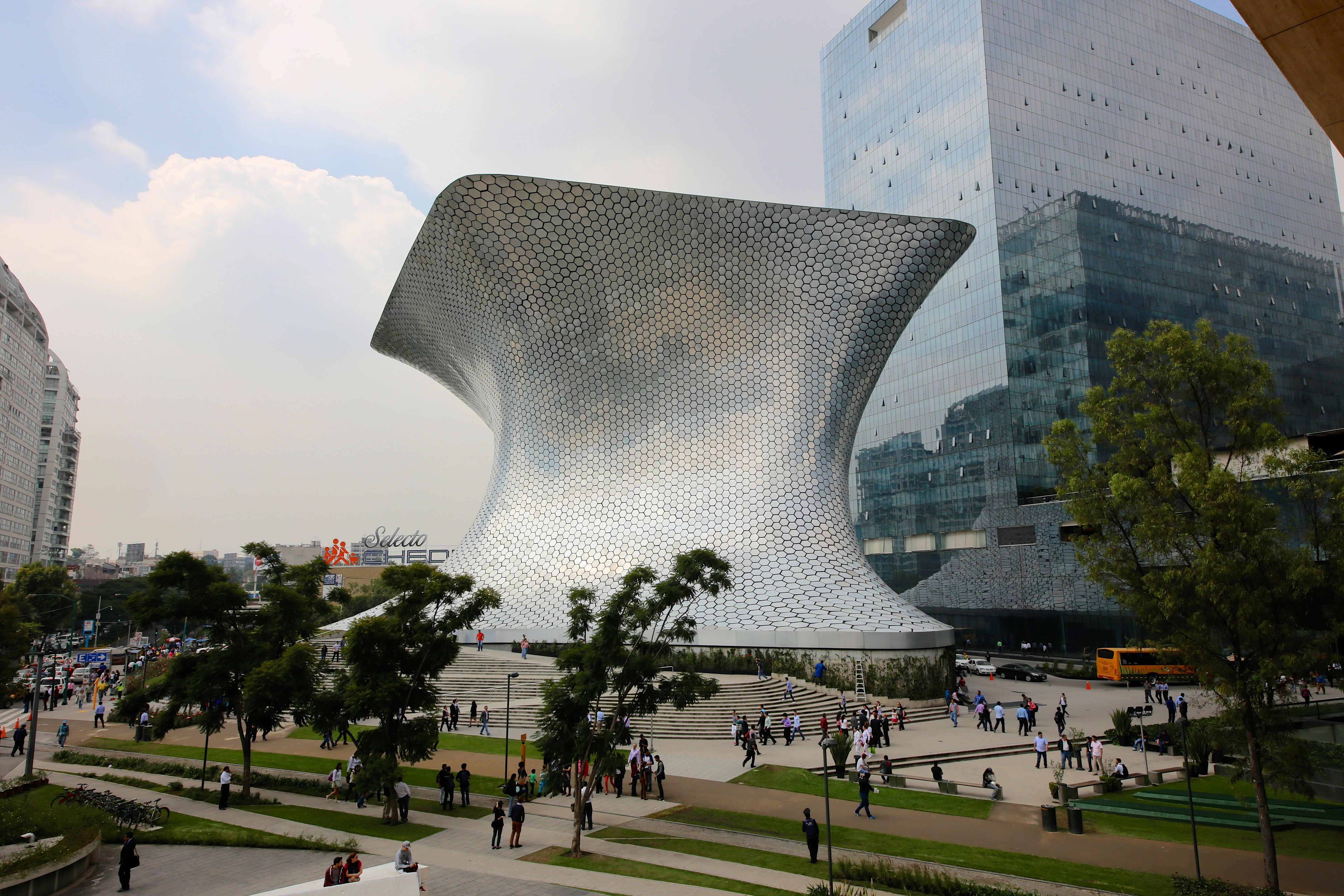 Shiny silver metal geometry of the Soumaya Museum in Mexico City