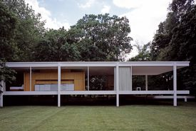 The Farnsworth House by Mies van der Rohe, a glass-walled home in Plano, Illinois