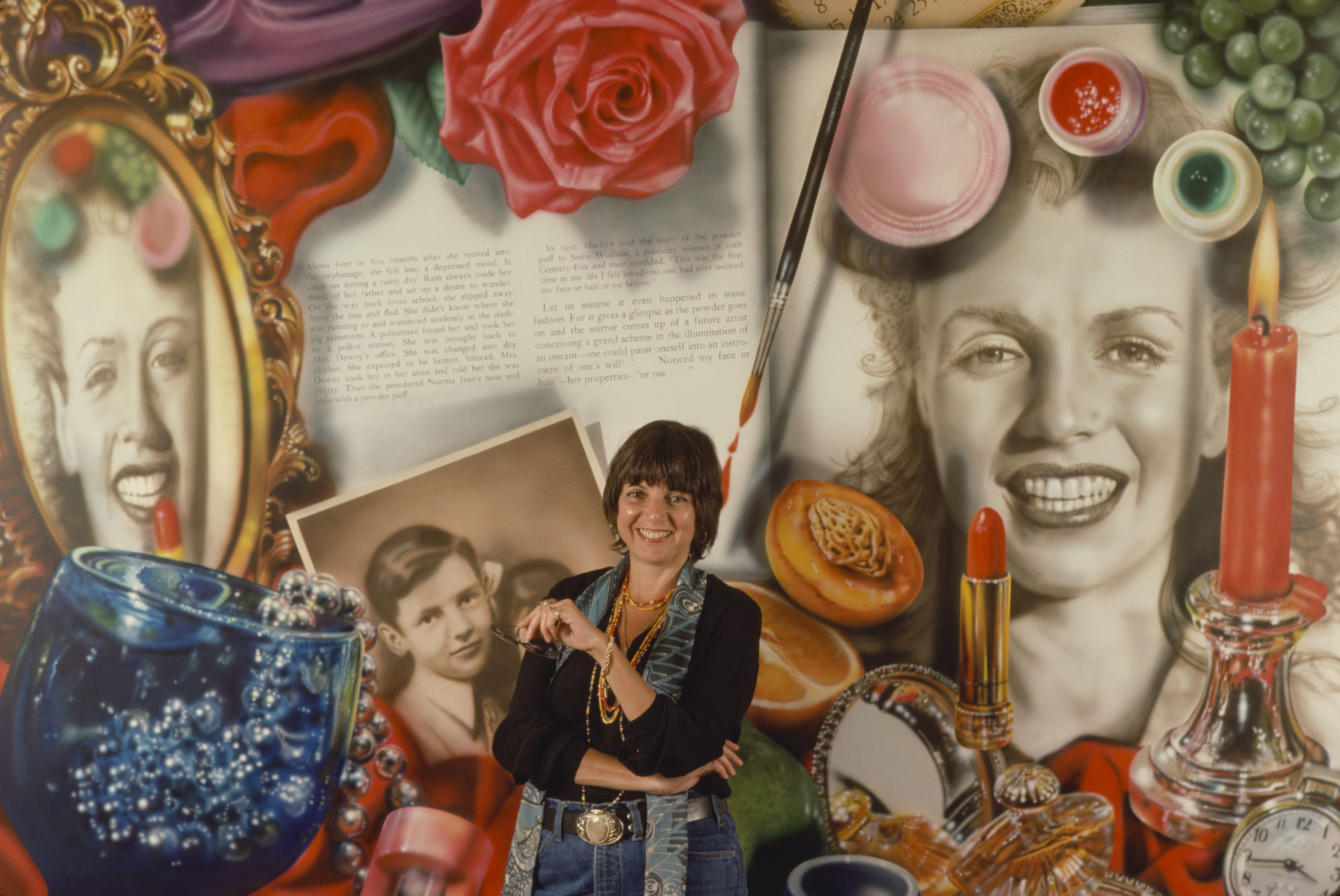 Realistic painting with old photos, lipstick, candle, rose, and portrait of artist Audrey Flack.