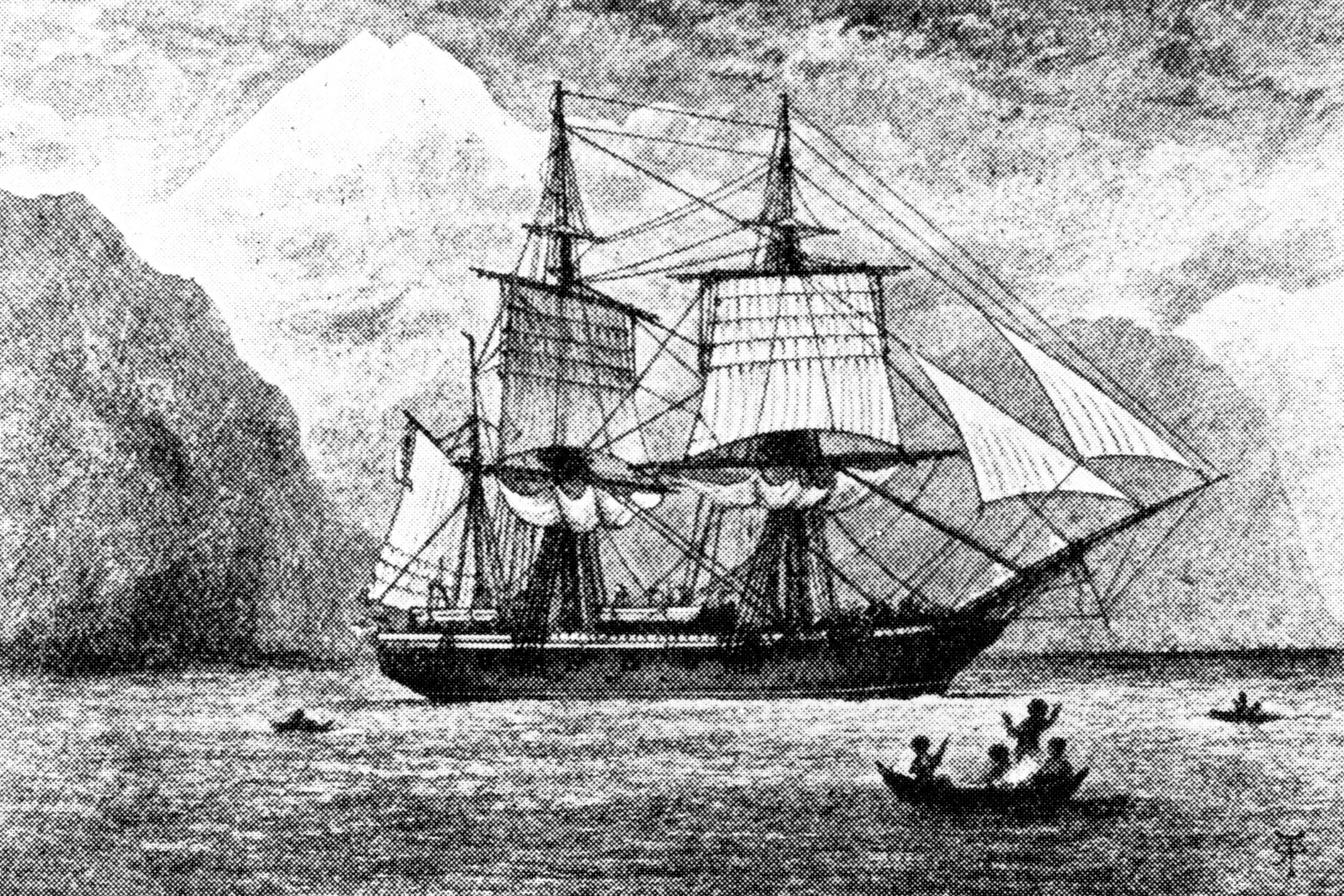 HMS Beagle during its circumnavigation of the globe with scientist Charles Darwin aboard