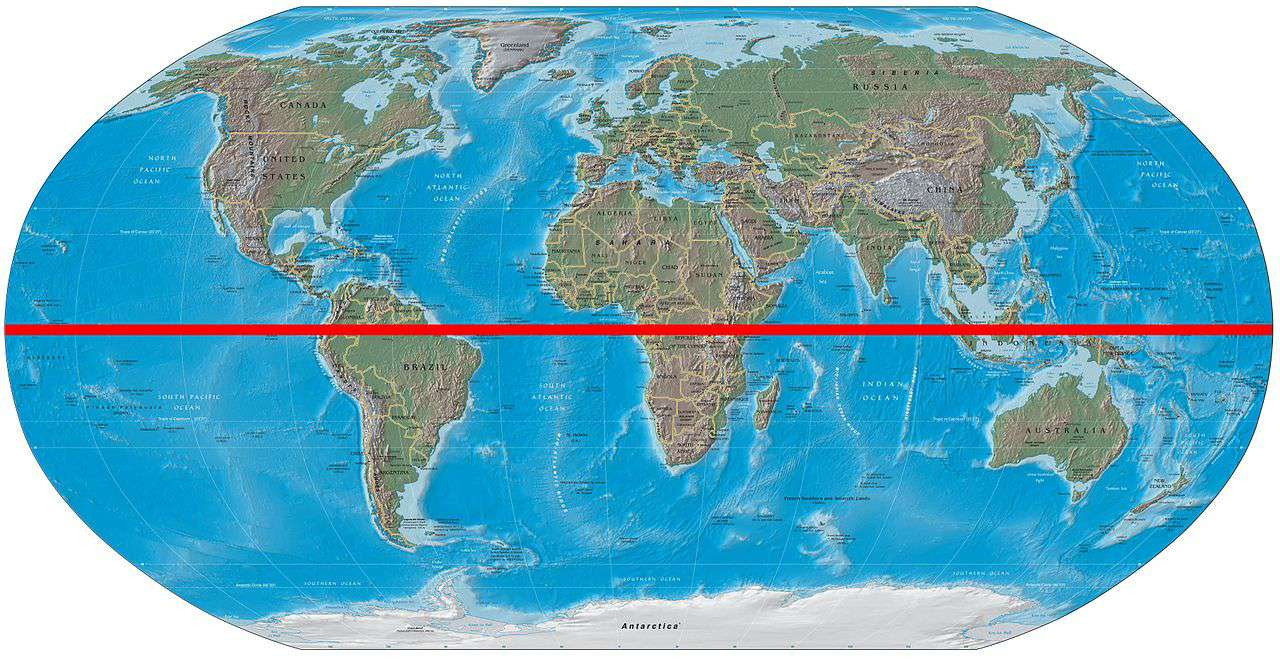Illustrated map of Earth with red equator line.