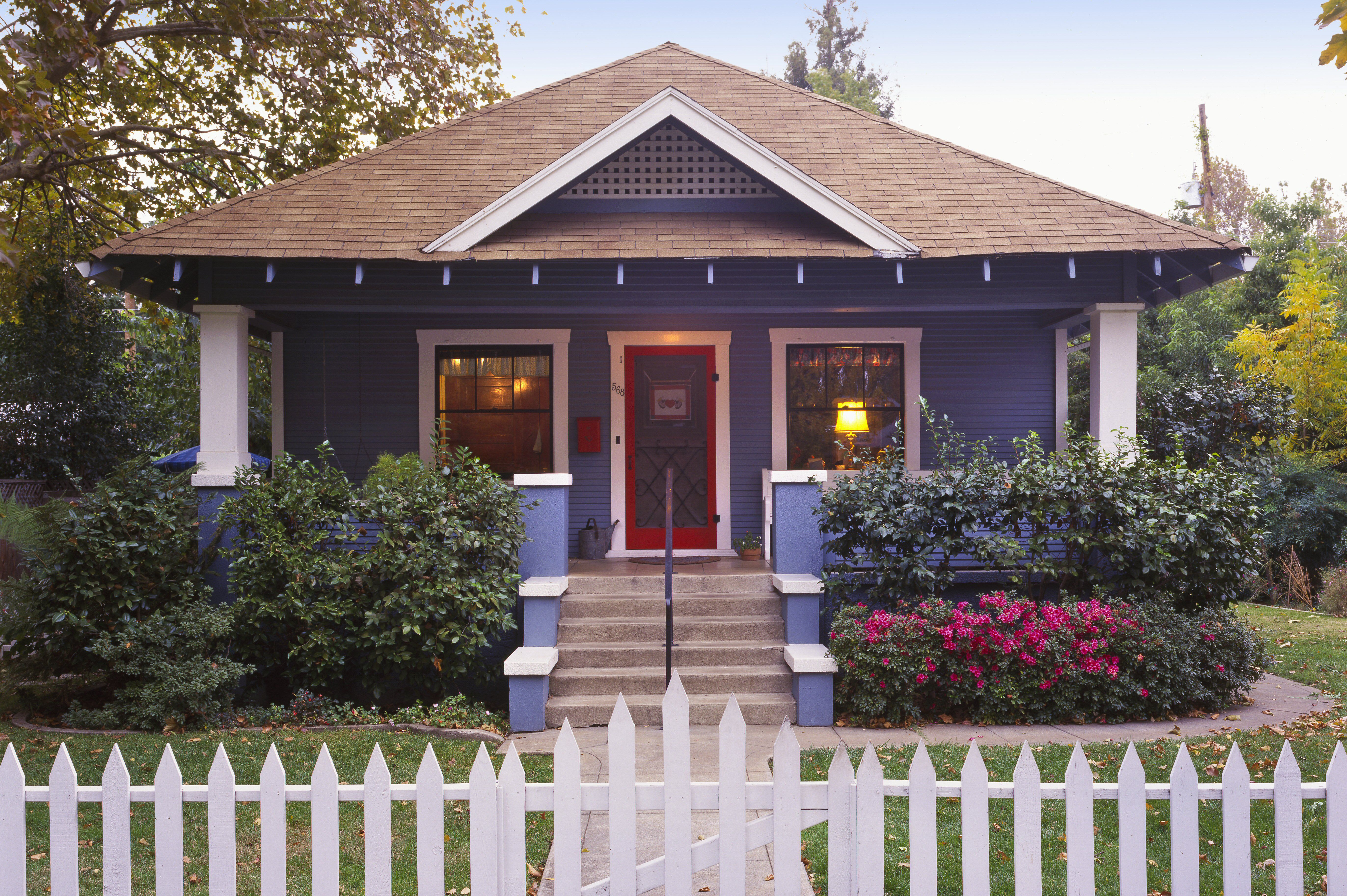 Blue And White Bungalow Red Screen Door Picket Fence