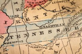 A closeup of a map showing Tennessee