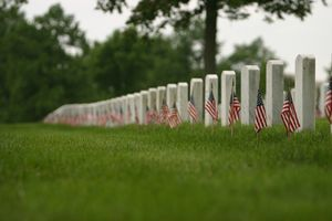 Cemetery decorated with American flags for Veterans Day.