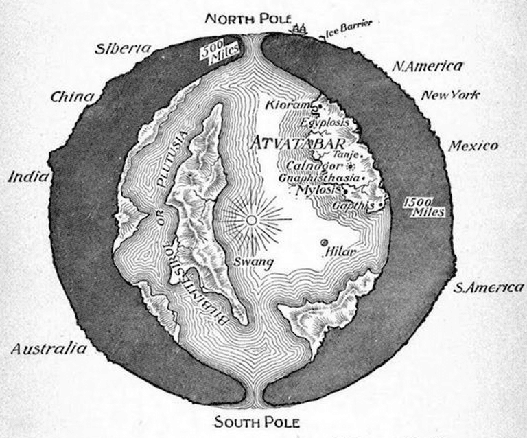 "A cross-sectional drawing of the planet Earth showing the ""Interior World"" of Atvatabar, from William R. Bradshaw's 1892 science-fiction novel The Goddess of Atvatabar"