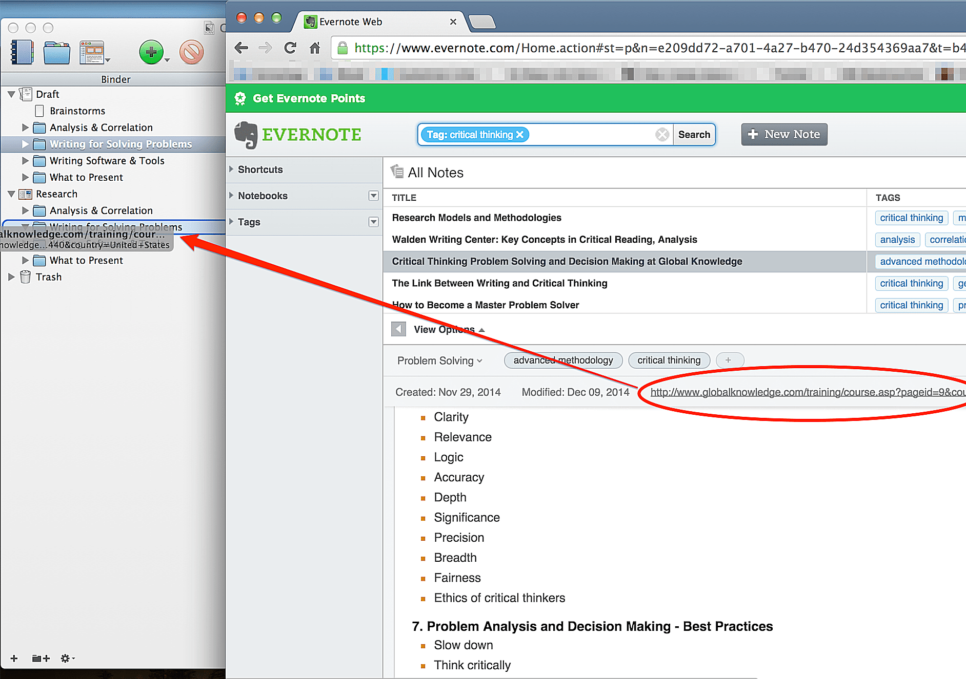 How to drag and drop individual notes from Evernote to Scrivener