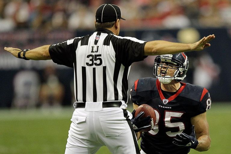 Tight-end Joel Dreessen #85 of the Houston Texans pleads with line judge John Hussey.