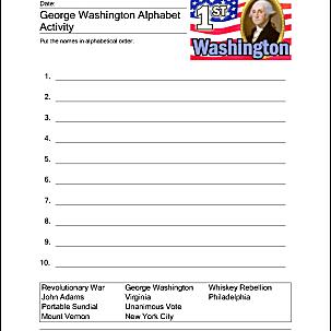 George Washington Alphabet Activity sheet