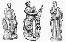 Scultpures of Euterpe, Erato, and Terpischore