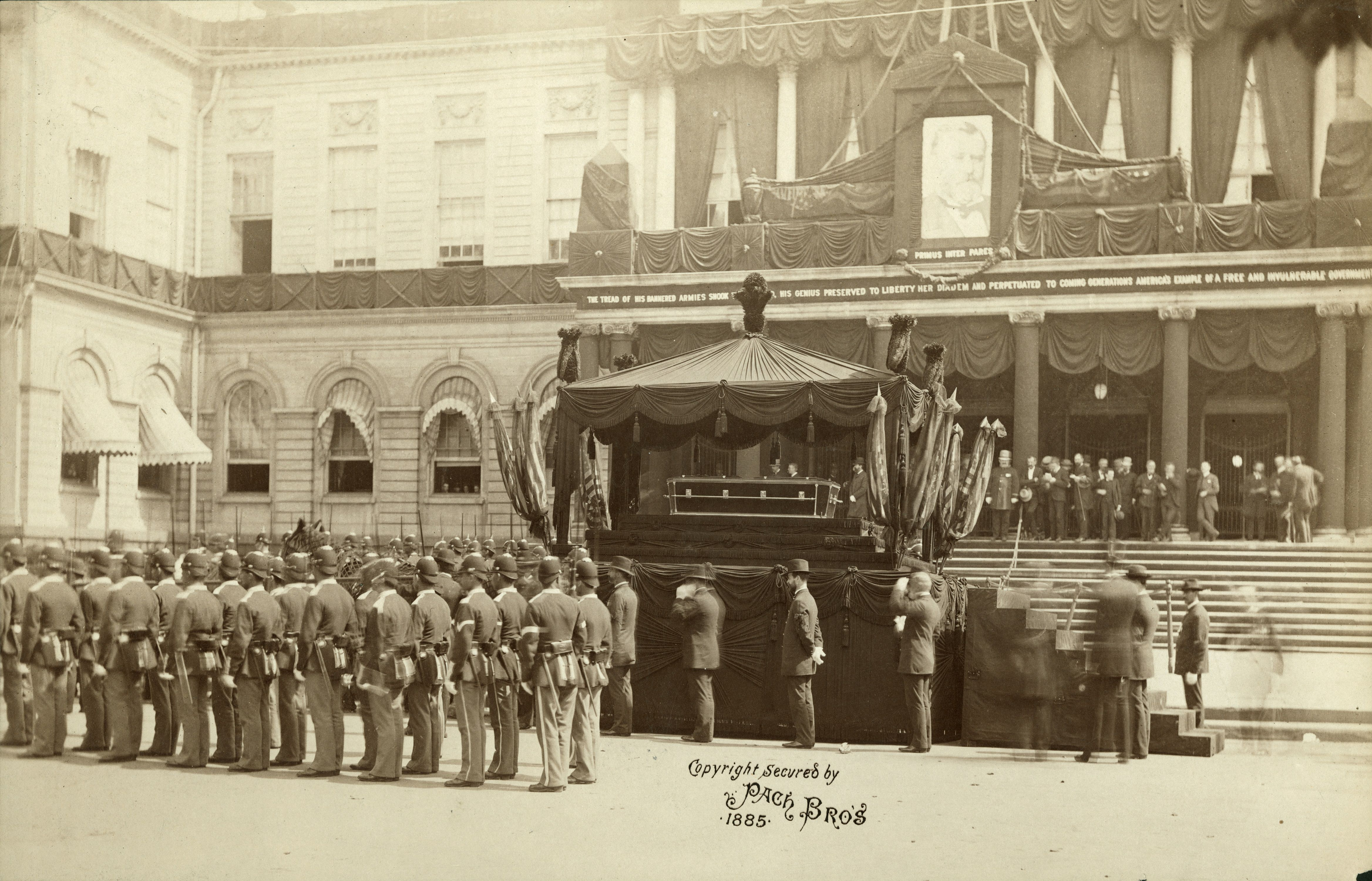 Photograph of President Grant's coffin outside New York's City Hall.