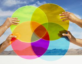 Hands holding multi-colored discs in landscape