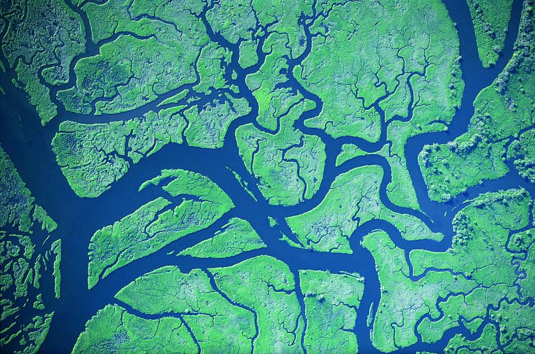 View of complex river system from the air