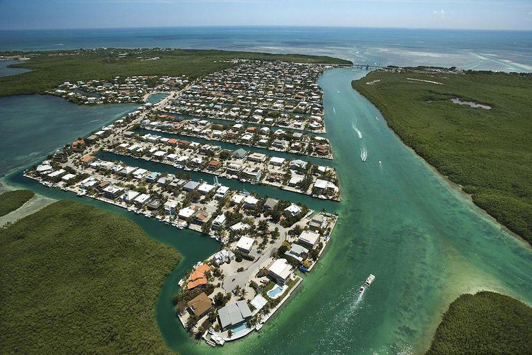 Aerial view of residential coastline