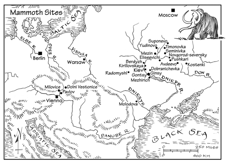 Illustrated map of mammoth bone dwellings.