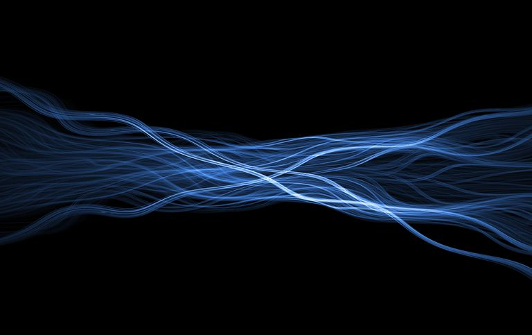 Wispy blue glowing flame fractal