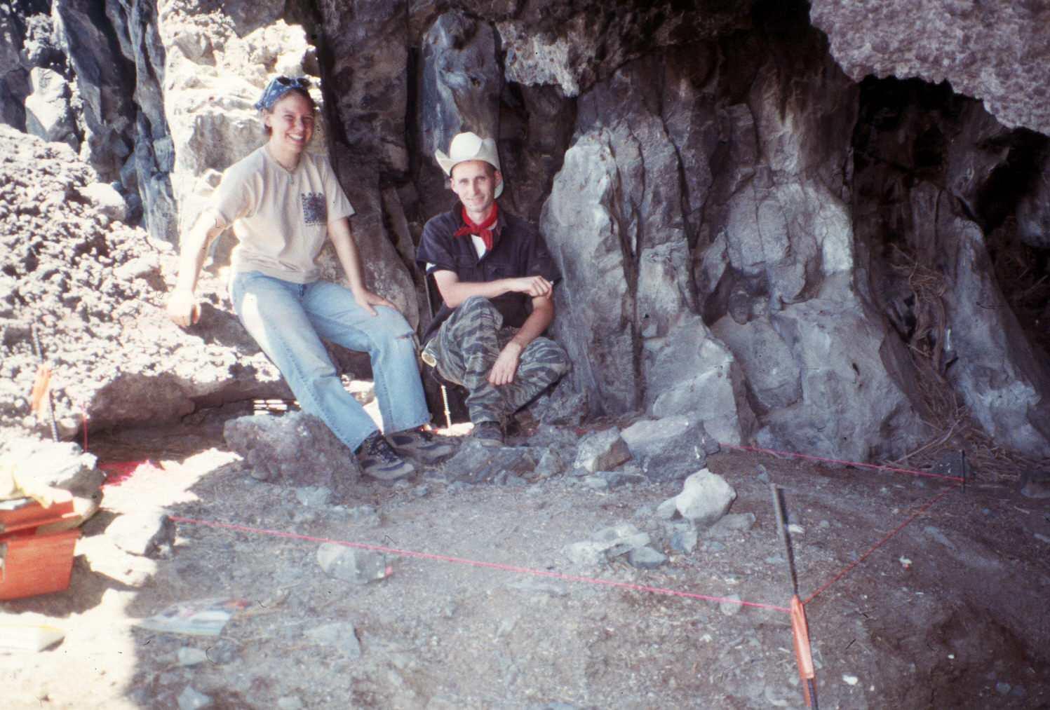 Students at Paisley Caves (Oregon)