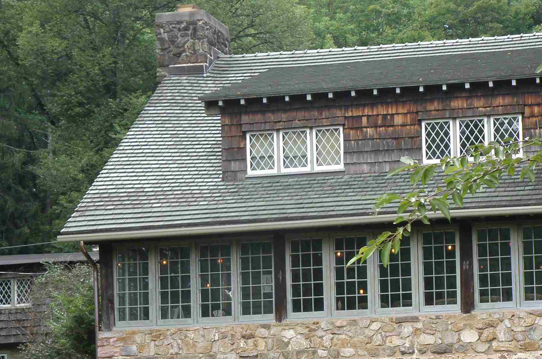 Detail of Craftsman Farms Log House With Ceramic Tile Roof