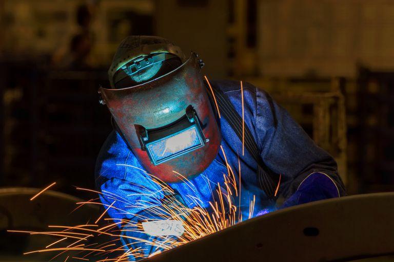 Welding in a car factory
