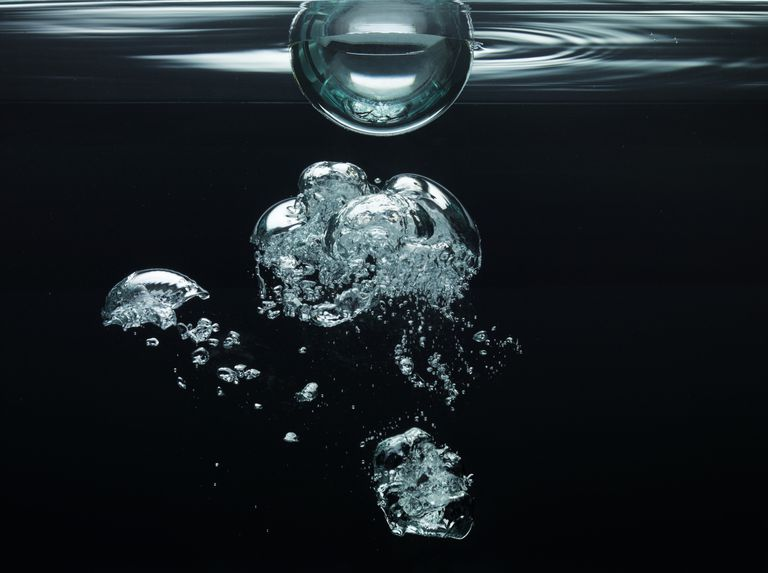 oxygen bubbles floating underwater
