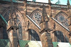 Close up of the flying buttresses on a cathedral.