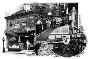 Postcard image of Steve Brodie's saloon in New York City.