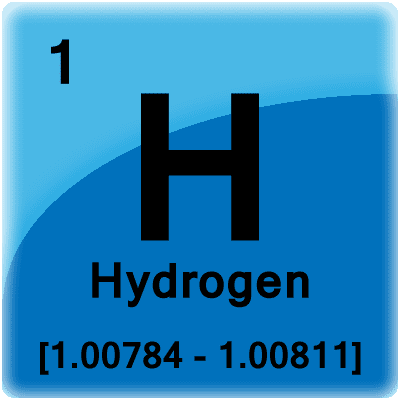 This is a periodic table tile for the element hydrogen.