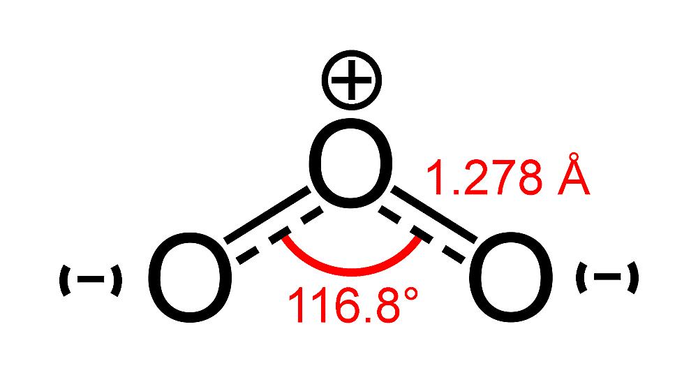 Este es un diagrama del dipolo 1,3 de ozono.  El ozono también se conoce como trioxígeno.