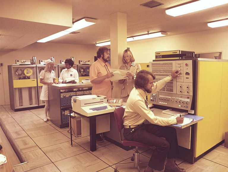 Computer Room With Early IBM Computers